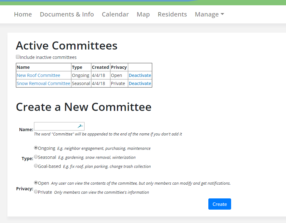 Committee manage page
